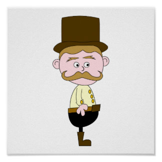 Gentleman with Mustache and Top Hat. Print