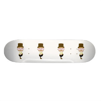 Gentleman with Mustache and Top Hat. Skate Deck