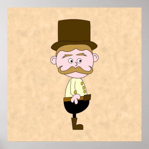 Gentleman with Top Hat and Mustache. Custom Poster