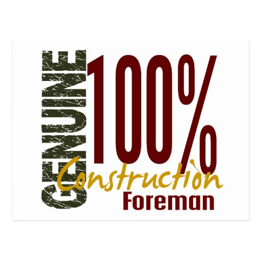 Genuine Construction Foreman Postcard