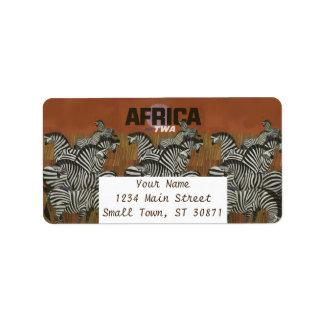 Genuine Zebra Vintage Poster Africa Travel Address Label