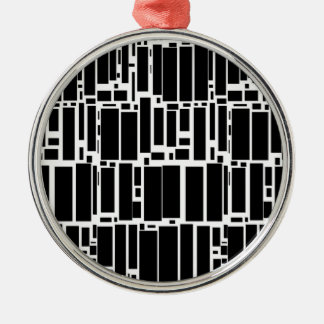 Geo 10 black and white geometric pattern Silver-Colored round decoration