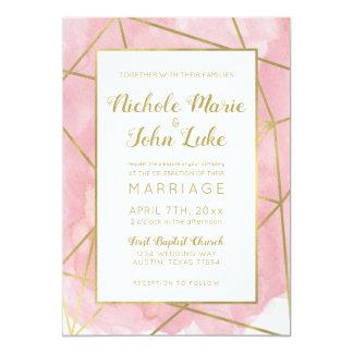 Geo Gold Foil Wedding Invitation Blush Watercolor