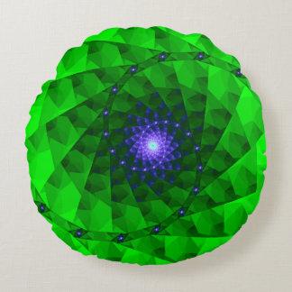 Geo Green Fractal Round Pillow