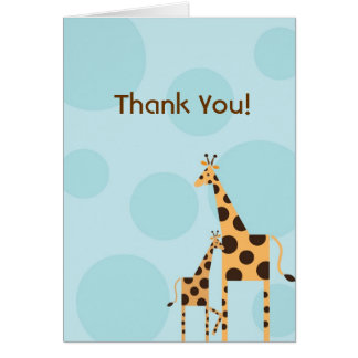 Geo the Giraffe Thank You Card - Blue