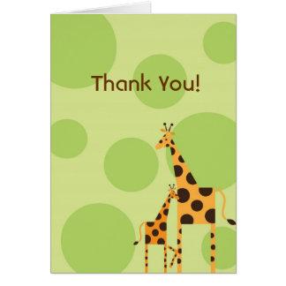 Geo the Giraffe Thank You Card - Green