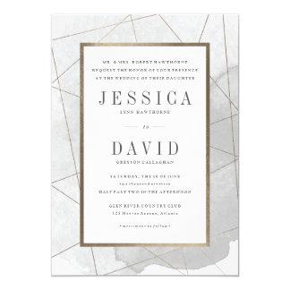 Geo watercolor faux foil wedding invitation