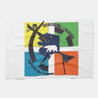 GEOCACHE ALASKA & STATE MOTTO TEA TOWEL