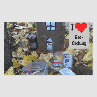 Geocache in the leaves rectangular sticker