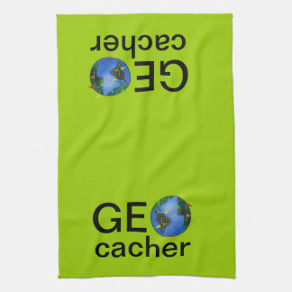 Geocacher Earth with Flags Geocaching Custom Tea Towel