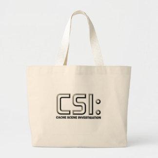 Geocaching CSI graphic design Beach Swag Bag! Large Tote Bag