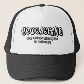 Geocaching, What happens when nerds go outdoors Trucker Hat