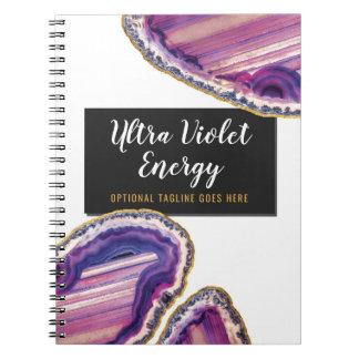 Geode Agate Slice Gemstone Ultra Violet Purple Notebook