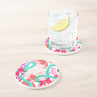 GEODE + RIBBONS AND PEARLS BEVERAGE COASTERS