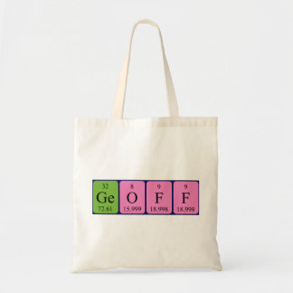 Geoff periodic table name tote bag