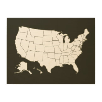 geographic map of the USA, black and white Wood Wall Art