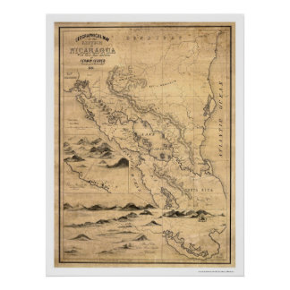 Geographical Nicaragua Map 1855 Poster
