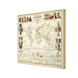 Geographical spread of the human race gallery wrapped canvas