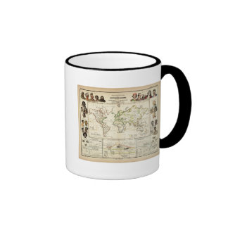 Geographical spread of the human race ringer coffee mug