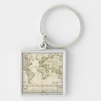 Geographical spread of the human race Silver-Colored square key ring