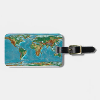 Geographical World Map Luggage Tag