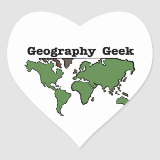 Geography Geek Heart Sticker