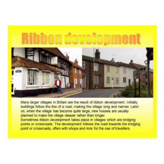 Geography, Social studies, Ribbon development Postcard