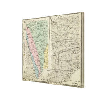 Geological map of Indiana Stretched Canvas Prints