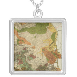 Geological map San Francisco Silver Plated Necklace
