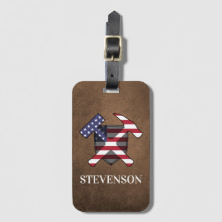Geologist's Hammer and Shield- American Flag Luggage Tag