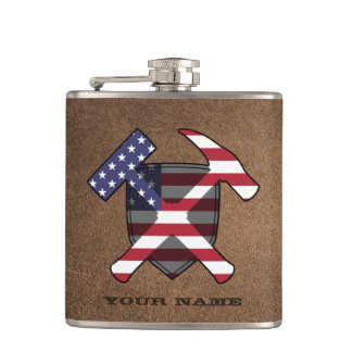Geologist's Rock Hammer Shield- American Flag Hip Flask