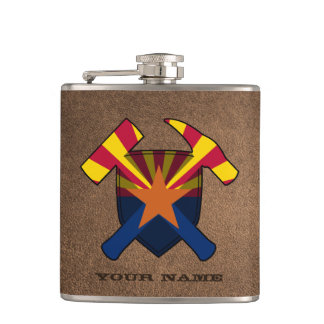 Geologist's Rock Hammer Shield- Arizona Flag Hip Flask