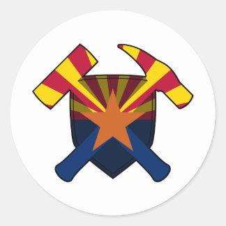 Geologist's Rock Hammer Shield- Arizona State Flag Classic Round Sticker