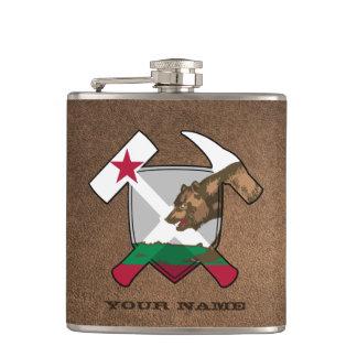 Geologist's Rock Hammer Shield- California Flag Hip Flask