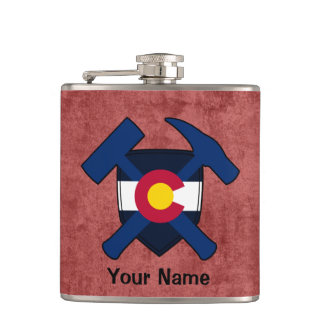 Geologist's Rock Hammer Shield- Colorado Flag Hip Flask