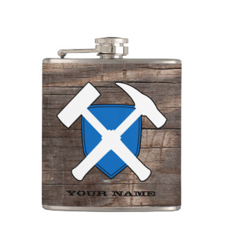 Geologist's Rock Hammer Shield- Flag of Scotland Hip Flask