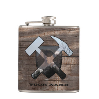 Geologist's Rock Hammer Shield- Half Dome Hip Flask