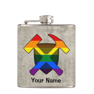 Geologist's Rock Hammer Shield- LGBT Rainbow Flag Hip Flask