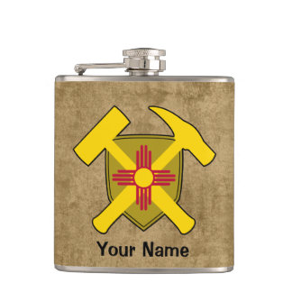 Geologist's Rock Hammer Shield- New Mexico Flag Hip Flask