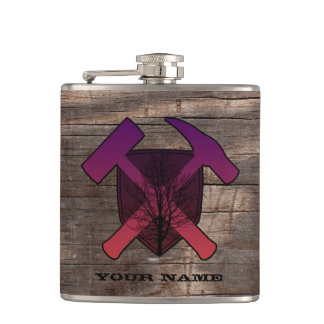 Geologist's Rock Hammer Shield- Sunset Tree Hip Flask