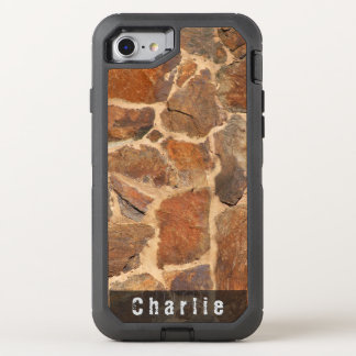 Geology Stone Wall Structure Warm Golden any Text OtterBox Defender iPhone 8/7 Case