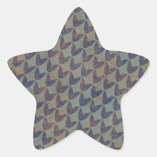 geometric02 GREY GRAYS NAVY BLUE ORANGE GRUNGE ARR Star Stickers