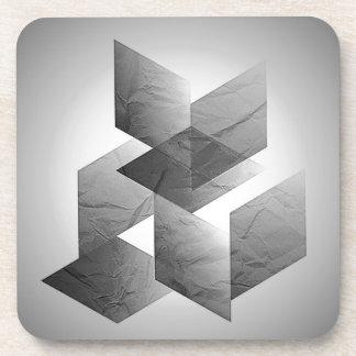 Geometric 01 black white coasters