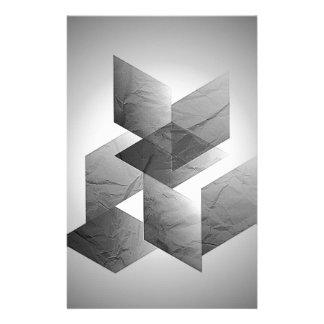 Geometric 01 black white customized stationery