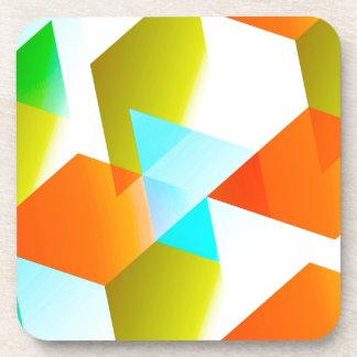 Geometric 03 orange beverage coaster