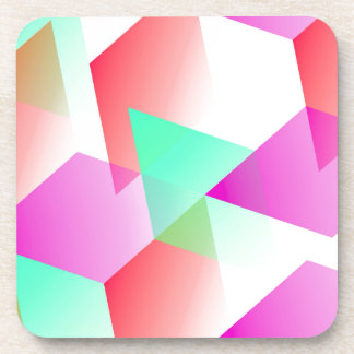 Geometric 03 pink beverage coaster