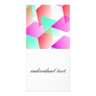 Geometric 03 pink custom photo card