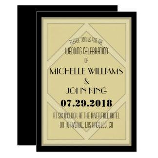 Geometric 20's Art Deco Wedding Invitation Card