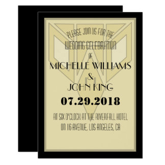 Geometric 20's Eagle Wedding Invitation Card