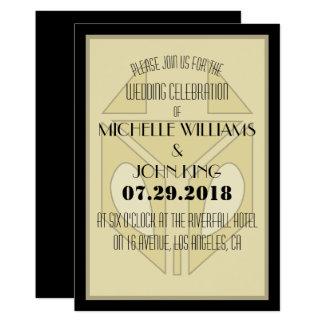 Geometric 20's Fox Wedding Invitation Card